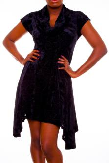 Black Roses - Black Velvet Devore Dress