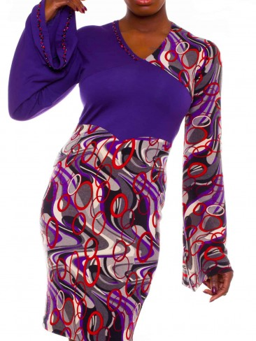 Purple Jersey Knit Dress