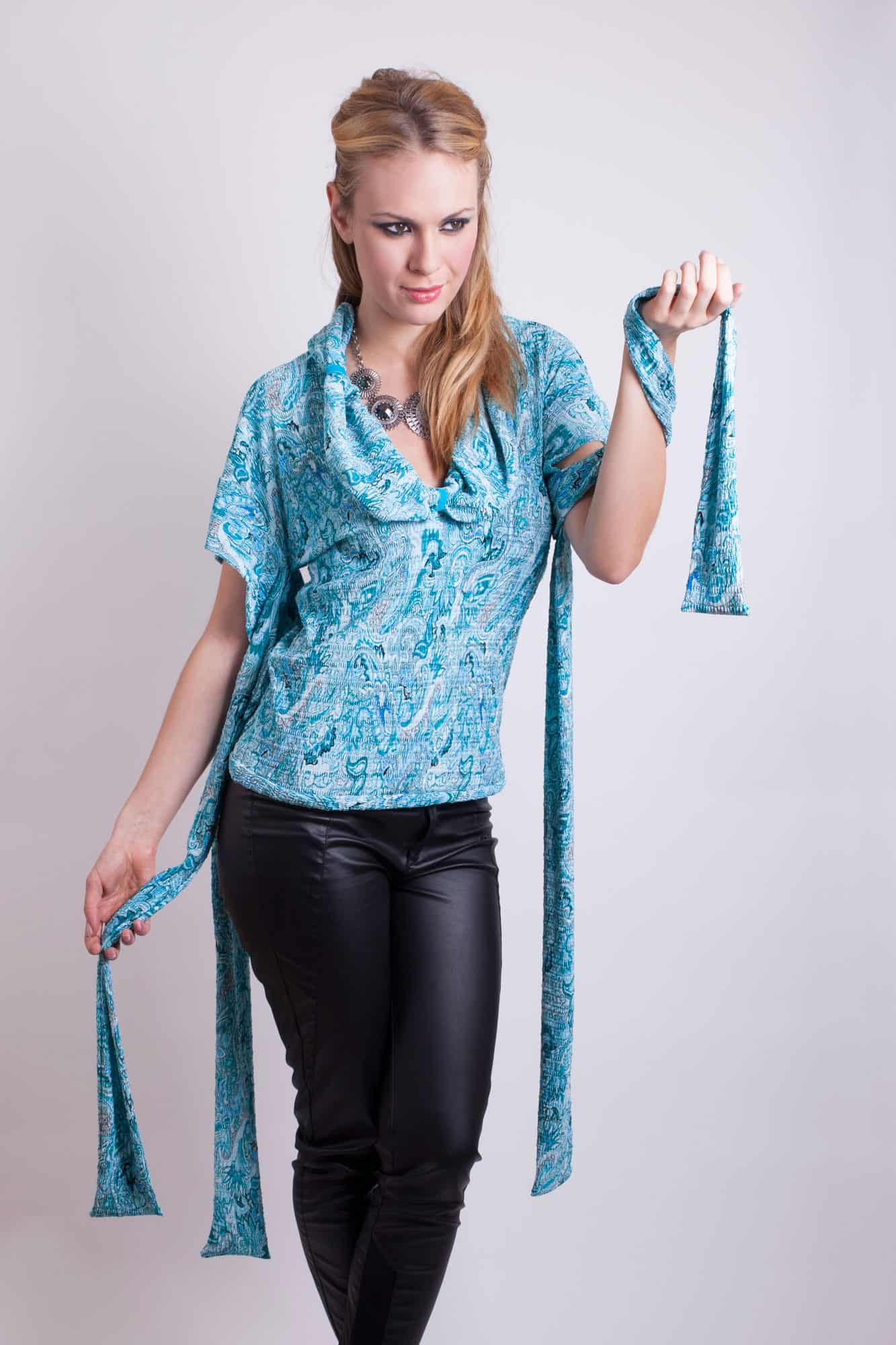 Blue paisley top