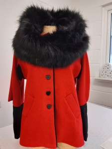 Red Jacket and Faux Fur Scarf