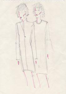 Coat Dress sketch for Luise by Derek Turner